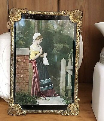 1920's ORNATE GOLD SCROLL FRAMED GLASS PICTURE ON THE LOOK OUT SHAbbY CHIC
