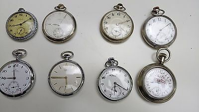 Eight antique pocket watches all working condition