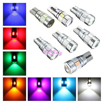 6/10SMD LED T10 501 W5W Car Side Light Bulb Error Free Canbus Xenon HID Colorful