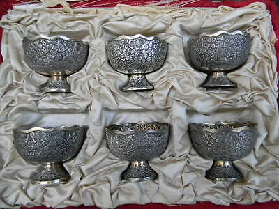Rare - Antique Ottoman Turkish Set- 6 Solid Silver Zarf W/ Tughra Mark 1850-1899