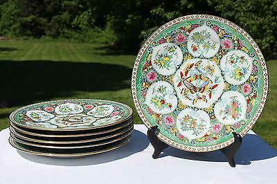 """Antique Chinese Gold Butterflies Plate Set of 6 10""""D Dinner Charger Famille Rose"""