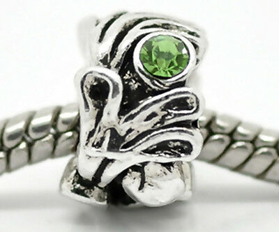 Metal Euro Flower Spacer Bead Antique Silver  PERIDOT 12x8mm Lot of 10