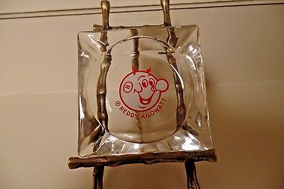 Vintage Reddy Kilowatt Glass Ashtray Electric Lightbulb Cigar Mancave Bar 3.75""