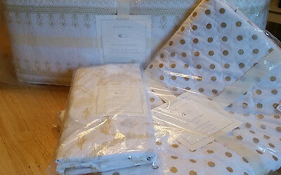 Pottery Barn Kids Adrienne Gold Embroidered Crib Bumper, Sheet, Quilt New
