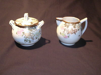 Vintage Creamer and Sugar Set  Mutli Color with Flowers, Free Shipping