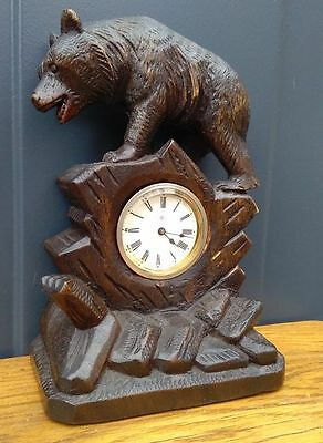 Black Forest desk / table clock with bear - hand carved - with Junghans movement