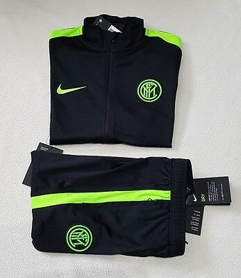 Nike Junior Inter Milan Presentation Tracksuit Black Green Exclusive S Rrp £80