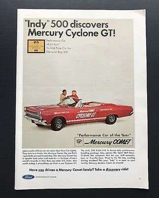 Mercury Cyclone GT | 1966 Vintage Ad | 1960s Red Sports Car Race Pace Car