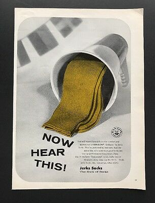 Jerks Socks | 1966 Vintage Ad | 1960s Men's Fashion Color Yellow Green