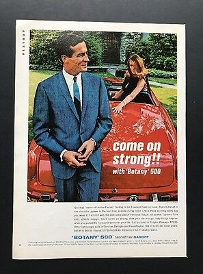 Botany 500 | 1966 Vintage Ad | 1960s Men's Fashion Blue Suit Red Car Pretty Girl