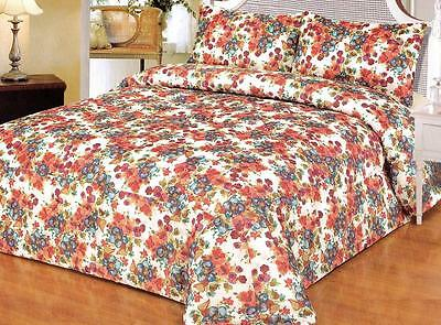 WHITE FLORAL ORANGE GREEN BLUE Quilted Polyester JACQUARD QUEEN Comforter Set
