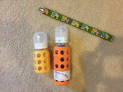 Lot Of 2 Lifefactory Glass Baby Bottle With Protective Sleeve And Pacifier Clip