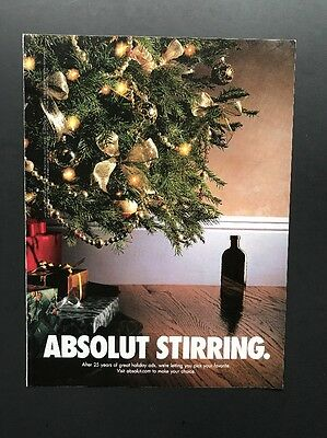 Absolut Stirring | Vintage Print Ad | Vodka Alcohol Christmas Tree Presents