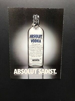 Absolut Sadist | Vintage Print Ad | Vodka Alcohol Lock Key Chain