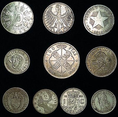 10 Coin Silver Lot Of Ten Different Countries, All Over 50 Years Old