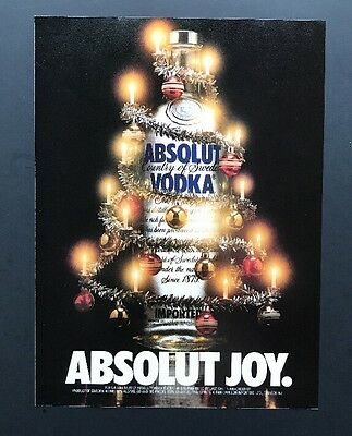 Absolut Joy | Vintage Print Ad | Vodka Alcohol Christmas Tree Candle Bulb