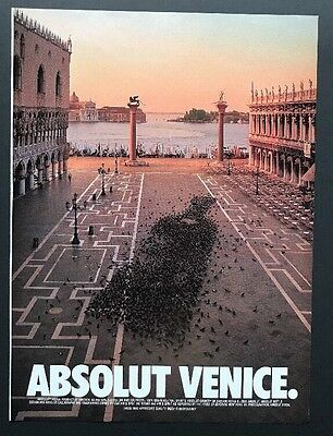 Absolut Venice | Vintage Print Ad | Vodka Alcohol Travel Boardwalk City Birds