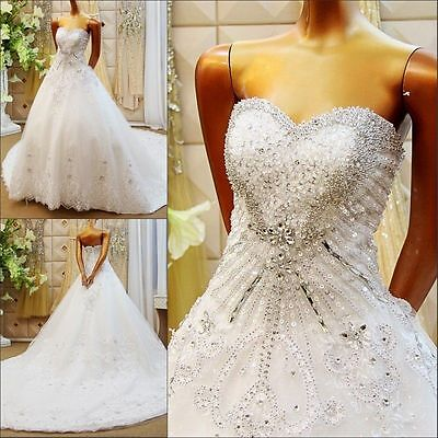 Gorgeous 2017 New White/Ivory Wedding Dress Bridal Gown Custom Made 2-28+++