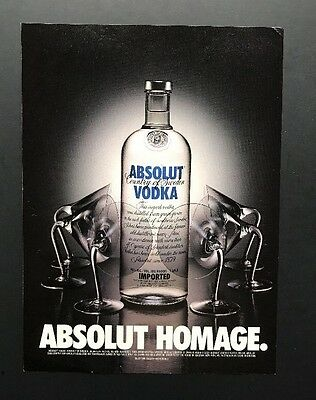 Absolut Homage | Vintage Print Ad | Alcohol Vodka Glasses