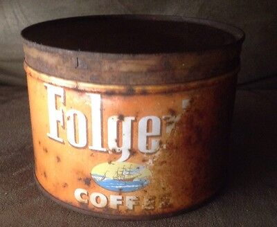 Vintage Folger's Tin Coffee Can, Copyright 1952