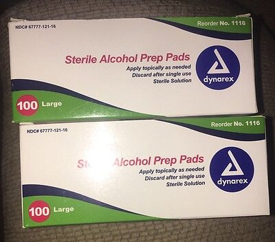Lot of 200 Large Alcohol Prep Pads, single use, brand new boxes!