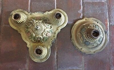 Vintage Art Deco 1920s 2 pieces painted light fixtures