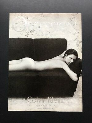Calvin Klein Obsession | Vintage Print Ad | Kate Moss On Couch Naked