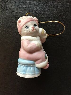 VTG Kitty Cucumber Priscilla in Curlers Cat Christmas Ornament Shackman Schmid