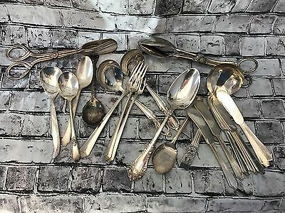 Vintage Mixed Lot Silverplate Flatware Silverware Lot of 21 For Resale or Crafts