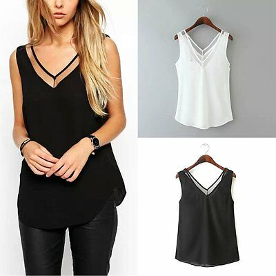 Fashion Women Summer Chiffon Vest Top Sleeveless Casual Tank Blouse Tops T-Shirt