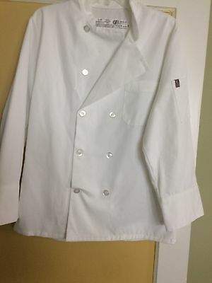 Chef Design Long Sleeve Button Front Chef's White  Jacket Size S