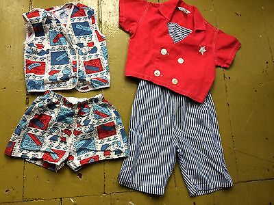 Lot Of 2 True Vintage 1940s Summer 2 Piece Suits Toddler Boy Sailor