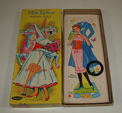 Vintage 1966 Whitman Disney MARY POPPINS Boxed Paper Dolls Uncut Complete