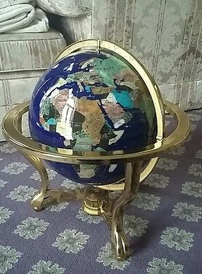 Vintage Antique Style Large Gemstone Mother of Pearl Globe 18""