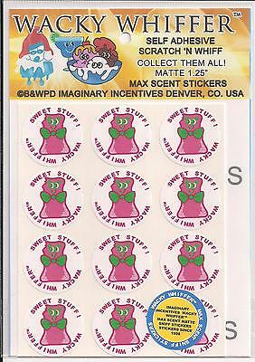 Wacky Whiffer Max Scent Sniff Stickers - 1 Sheet Matte NIP Sealed