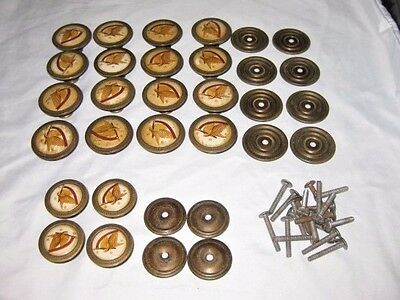 Lot 20 vintage brass porcelain drawer pulls knobs handles Base plates Screws