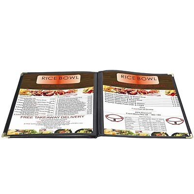 Flexzion Menu Cover 8.5x11 inch Black Triple Fold Book Style Holder with 3 Page