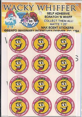Wacky Whiffer Max Scent Sniff Peach Stickers - 1 Sheet Matte NIP Sealed