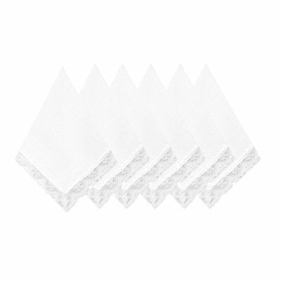6/12 Pack of Ladies White Perfect Wedding Lace Cotton Handkerchiefs