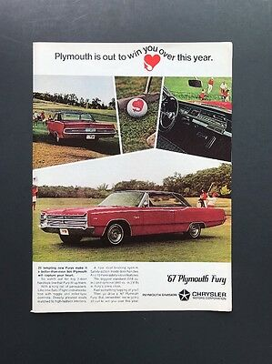 Plymouth Chrysler Fury | 1965 Vintage Ad | 1960s Car Automobile style