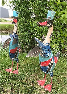 Duck Animal Sculptures Outdoor Garden Statue Ornament Sculpture Metal