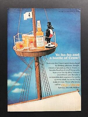 Old Crow | 1965 Vintage Ad | 1960s Bourbon Whiskey