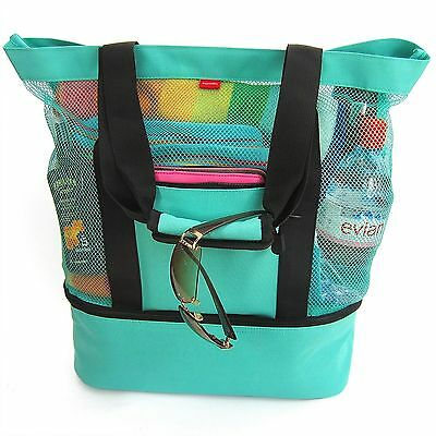 Aruba Mesh Beach Tote Bag, Zipper top, Insulated Cooler & waterproof cell case