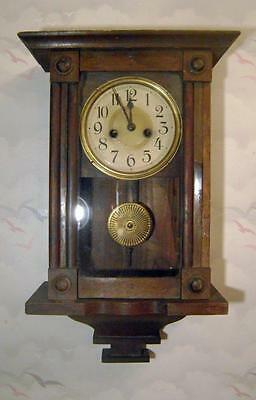 Antique Wood Cased Wall Clock : American or German, Working, case a/f