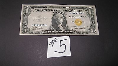 1935-A $1 Silver Certificate North Africa Yellow Seal I-C Block  Au