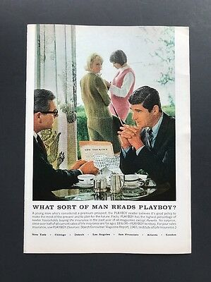 What Sort Of Man Reads Playboy?   1966 Vintage Ad   Buys Life Insurance 1960s