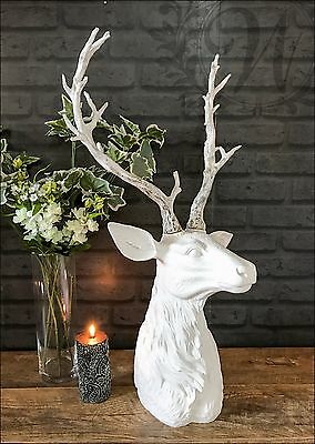 Large Antique White Stags Head Deer Head Wall Mounted Metal Resin