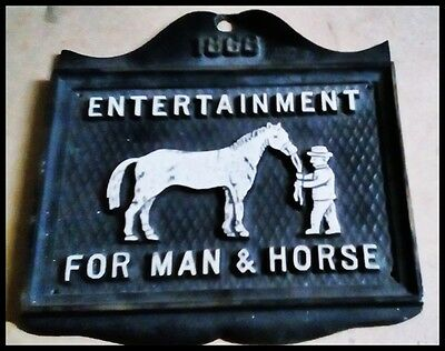 1866 Old Rustic Cast Iron Farm~Barn~Stable wall sign Fun for Man & Horse