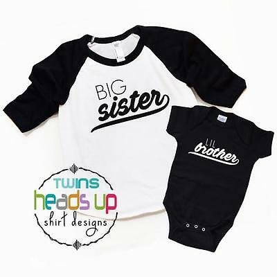 Big Sister Lil Brother Shirts Big Sister/Little Brother Siblings New Baby Gift