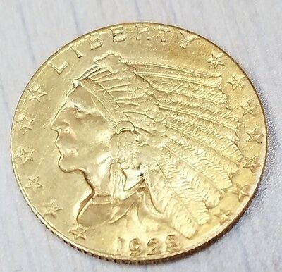 1928 $2.50 Gold Indian Quarter Eagle-About Uncirculated-Free USA Shipping